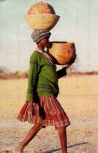 posture, african, woman, carrying load on head